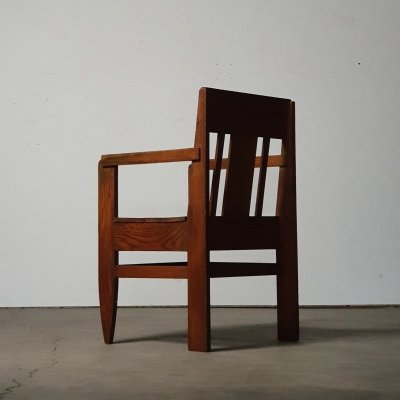 Rare modernist 1930s desk chair in solid wood