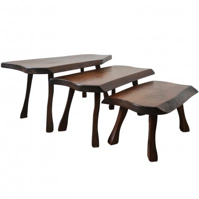 Set of vintage Scandinavian oak tree trunk nesting tables, 1960s
