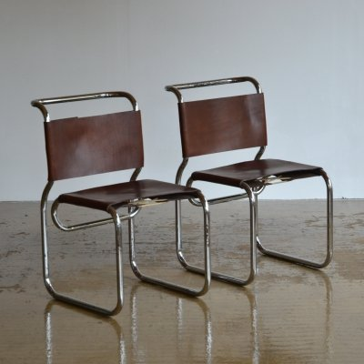 Pair of ch66 Nicos Zographos tubular chairs, 1960s