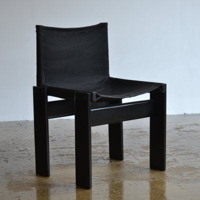 Set of 4 black Afra & Tobia Scarpa Monk chairs, 1960s