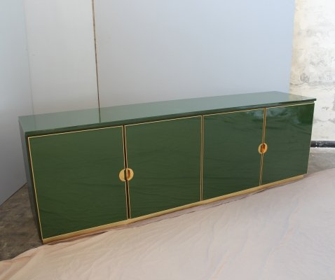 Italian Enameled Emerald Green cabinet with brass details, 1970
