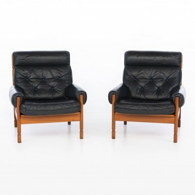 Pair of leather lounge chairs, 1960s