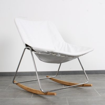 Rocking chair by Pierre Guariche in off-white leather