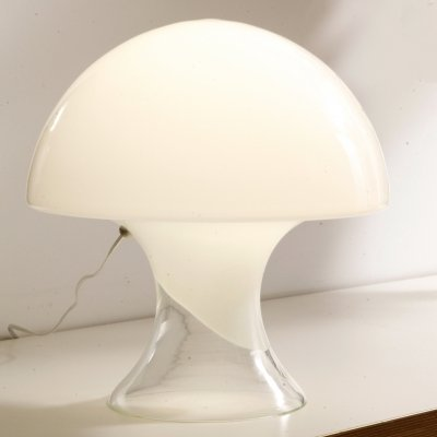 White Murano Glass Mushroom Lamp by Gino Vistosi, 1960s