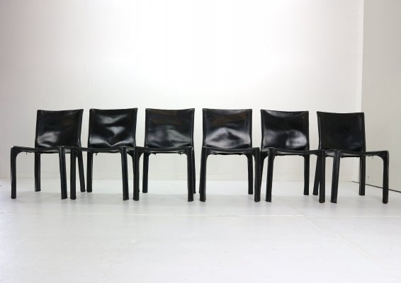 Early Edition Mario Bellini 'Cab-412' set of 6 Leather Chairs for Cassina, 1970