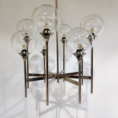 Vintage glass globe chandelier by Boulanger, 1970s