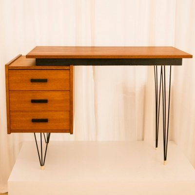 Fifties Dutch hairpinlegs desk by Tijsseling