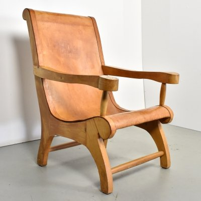Clara Porset Butaque saddle leather lounge chair, Mexico 1940s
