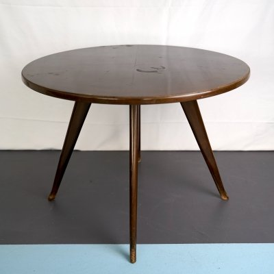 Vintage Italian mahogany round side table, 1950s