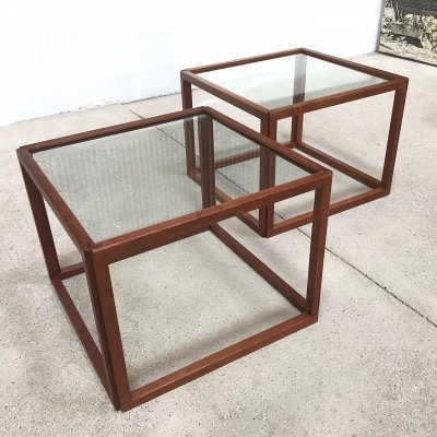 Pair of Danish Teak & Glass Cube Side Tables by Kai Kristiansen, 1960s