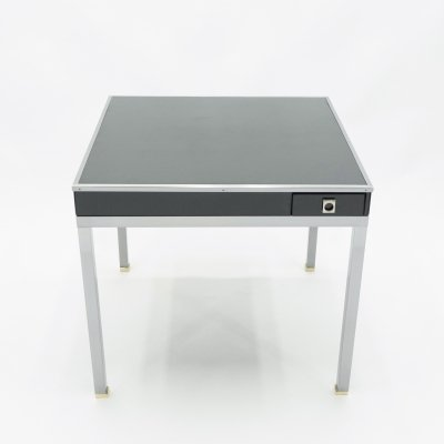 Game table by Guy Lefevre for Maison Jansen in black lacquer steel with leather top, 1970s