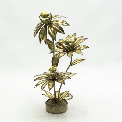 Maison Jansen brass flower floor lamp, 1970's