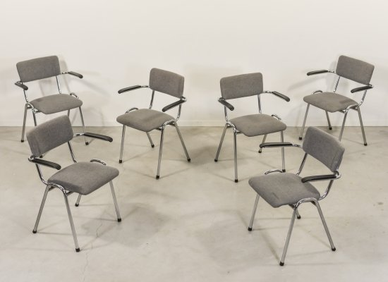Set of 6 Gispen bauhaus armchairs, 1970s