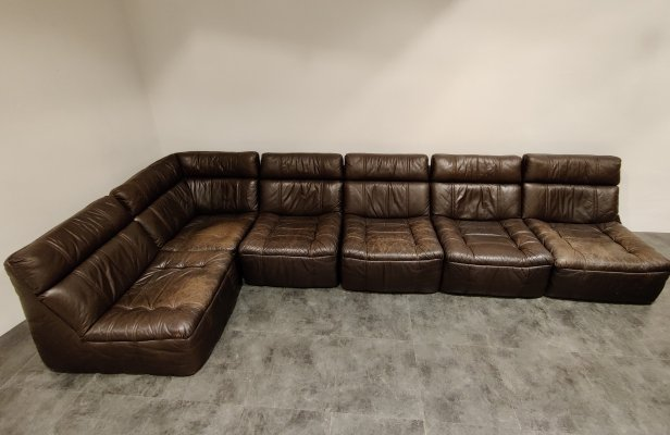 Vintage modular leather sofa by Rolf Benz, 1970s