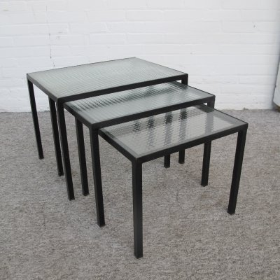 Vintage metal wire glass nesting tables, 1960s