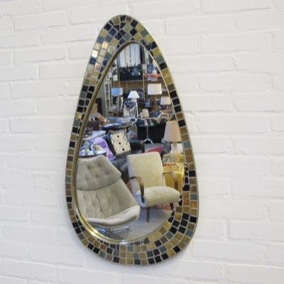 Vintage mosaic wall mirror by Knitter Duro Brevete, Belgium 1960s