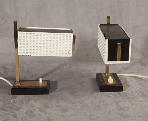 Pair of bedside lamps in perforated metal, 1950s