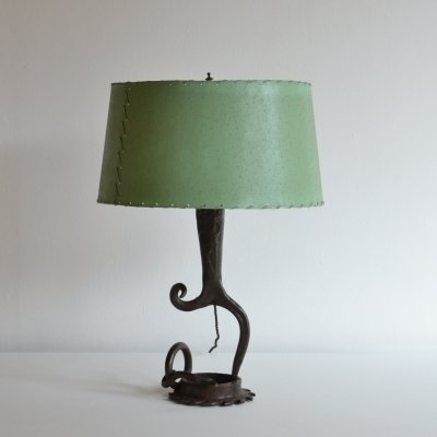 Surrealist French iron table lamp, 1960s