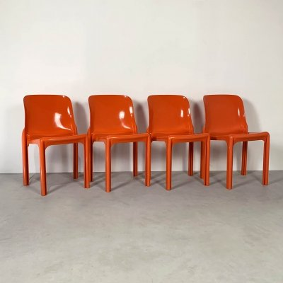 Set of 4 Flash Orange Selene Chairs by Vico Magistretti for Artemide, 1970s
