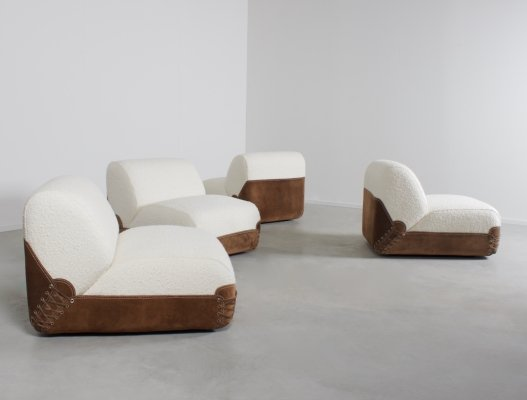 Rare 1970s Bouclé & Suede Sectional Sofa by COR Germany