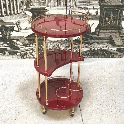 Italian Brass & Lacquered Goatskin Serving Bar Cart by Aldo Tura, 1960S