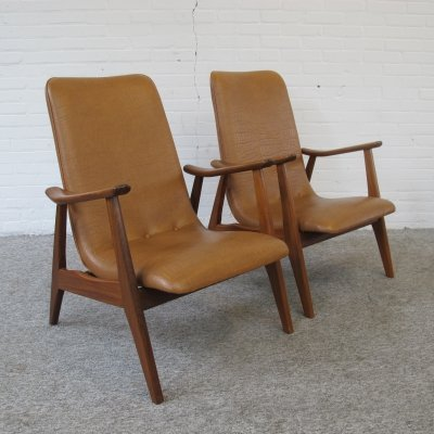 Pair of lounge armchairs by Louis van Teeffelen for Wébé, 1960s
