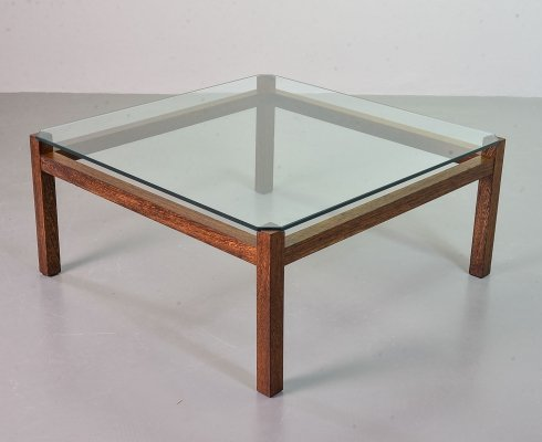 Kho Liangh Ie Wengé Coffee Table 'Liesbosch' TZ41 for Spectrum with Glass Top