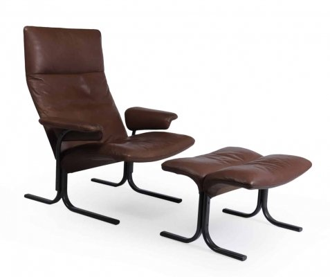 De Sede Lounge Chair & Footstool set Model DS 2030, c1980s