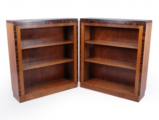 Pair of Art Deco open bookcases in Walnut & Macassar Ebony