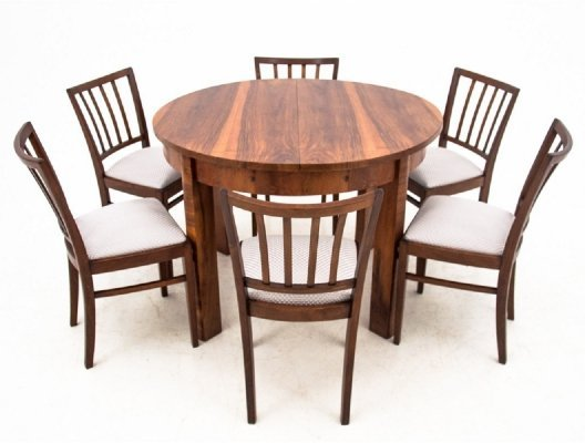 Art Deco Dining table with six chairs, 1940s