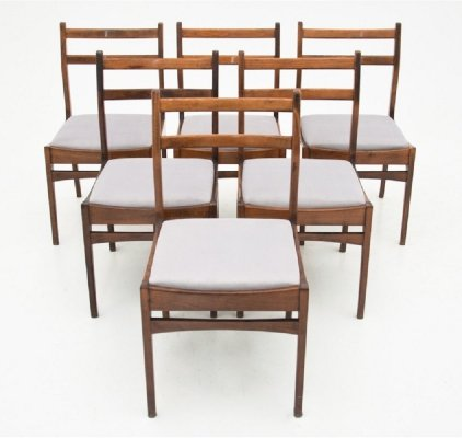 Set of 6 Danish Teak Chairs with Ladder back, 1960s