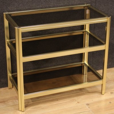 20th Century Gilt Metal & Glass Italian Design Side Table, 1980