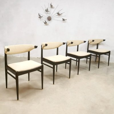 Set of 4 Vintage cowhorn dining chairs, 1960s