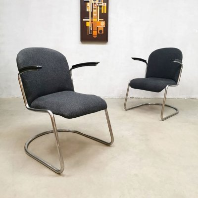 Vintage Dutch design arm chairs nr. 413 by W.H Gispen