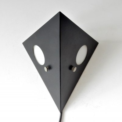 2 x Black metal 'Night Owl' wall light for Raak, The Netherlands 1960's