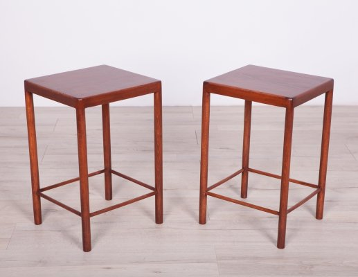 Pair of Danish Mid Century Beech Side Tables from Fritz Hansen, 1960s