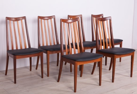 Set of 6 Leather & Teak Dining Chairs by Leslie Dandy for G-Plan, 1960s