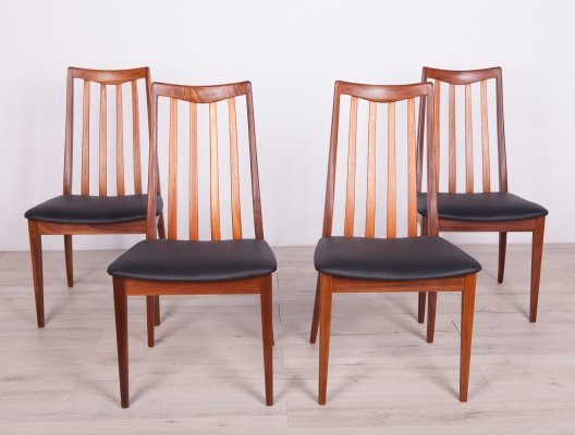Set of 4 Vintage Teak & Leather Dining Chairs by Leslie Dandy for G-Plan, 1960s