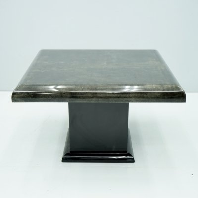 Aldo Tura Black Goatskin Side Table, Italy 1980s