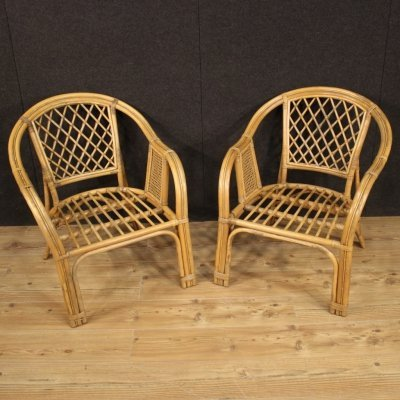 Pair of 20th Century Wicker, Wood & Cane Italian Armchairs, 1960