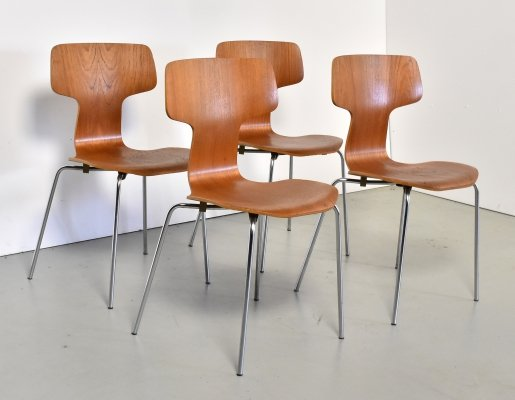 Set of 4 Model 3103 dining chairs by Arne Jacobsen for Fritz Hansen, 1960s