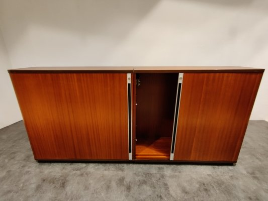 Mid century office cabinet with tambour doors, 1960s