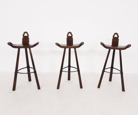Set of 3 Mid-century Brutalist Spanish bar stools