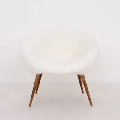 Mid-century modern club chair in fake fur, 1960's