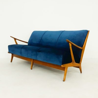 Vintage petrol velvet sofa, The Netherlands 1960's