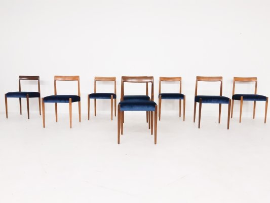 Set of 8 teak Lubke dining chairs in velvet, Germany 1960's