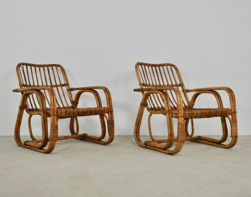 Pair of Italian Rattan Armchairs, 1960s