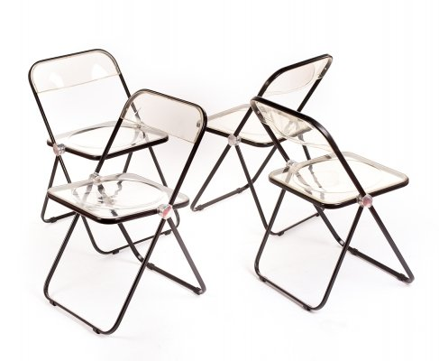 Vintage set of 4 foldable Plia chairs by Giancarlo Piretti for Castelli, 1967