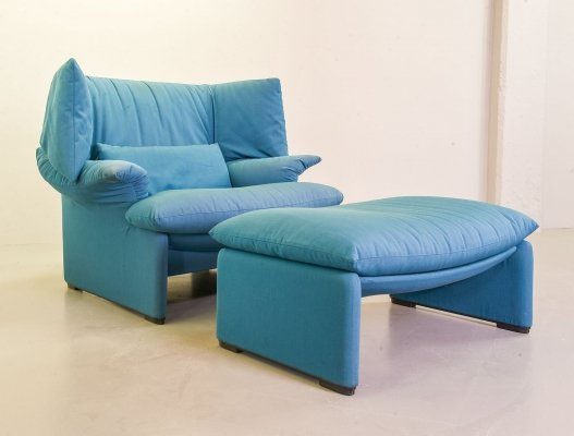 Blue Fabric 'Portovenere' Lounge Chair & Hocker by Vico Magistretti for Cassina, 1980s