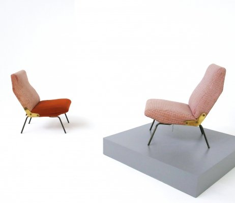 Pair of Delfino armchairs by Erberto Carboni for Arflex, original label 1950s